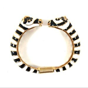 Kenneth Jay Lane KJL Black White Enamel Zebra Cuff